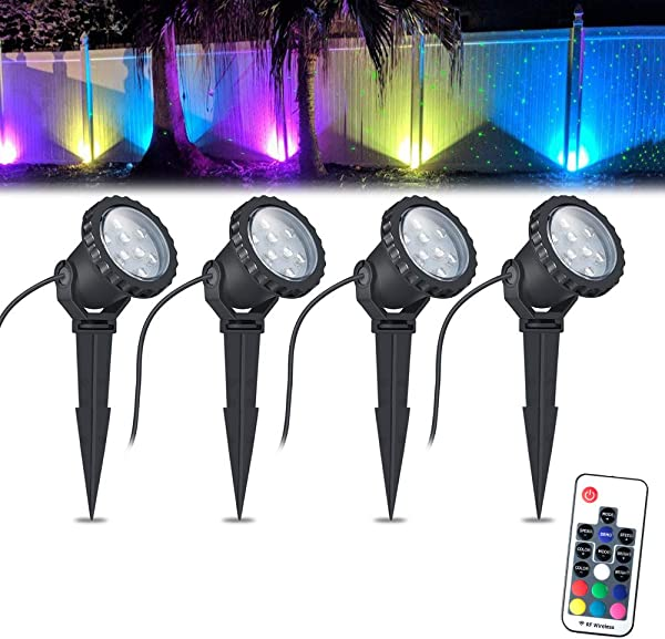 COVOART Color Changing LED Landscape Lights 12W Landscape Lighting IP66 Waterproof LED Garden Pathway Lights Walls Trees Outdoor Spotlights With Spike Stand Outdoor Landscaping Lights 4 Pack