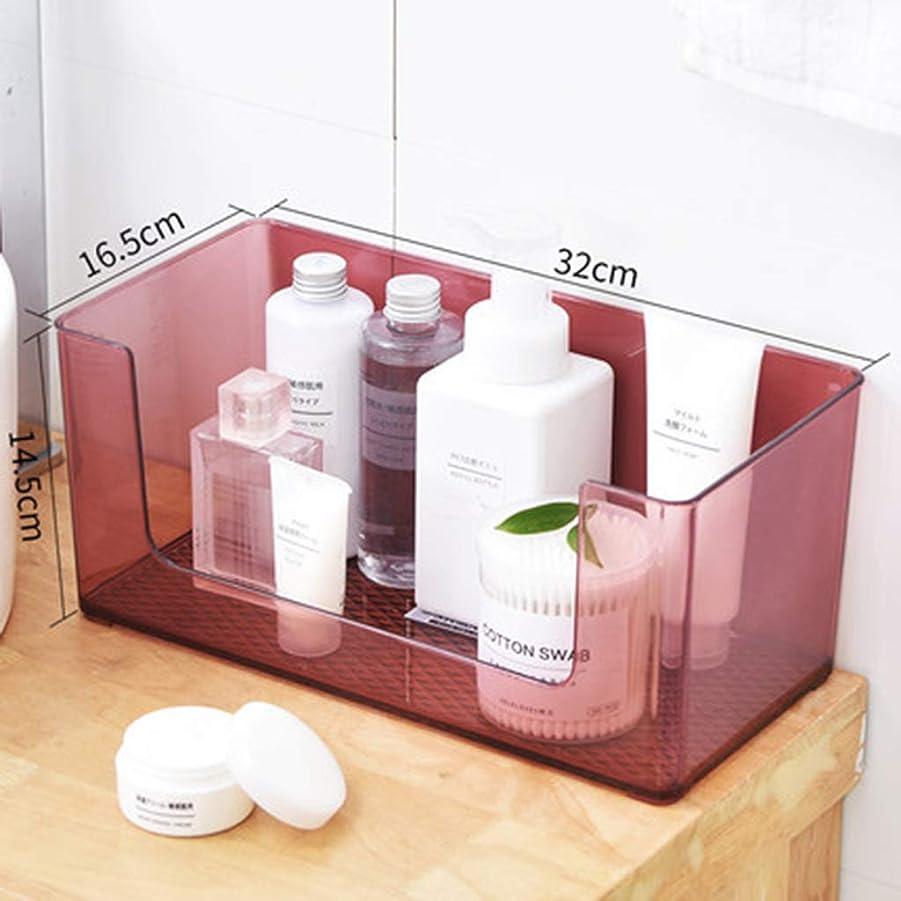 化粧品収納ボックス、浴室用大容量化粧品オーガナイザー、デスクトップ、化粧台カバーなし,Red,L