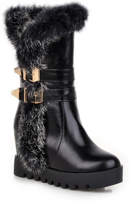 AllhqFashion Women's High-Heels Round Toe Blend Materials Mid-top Boots