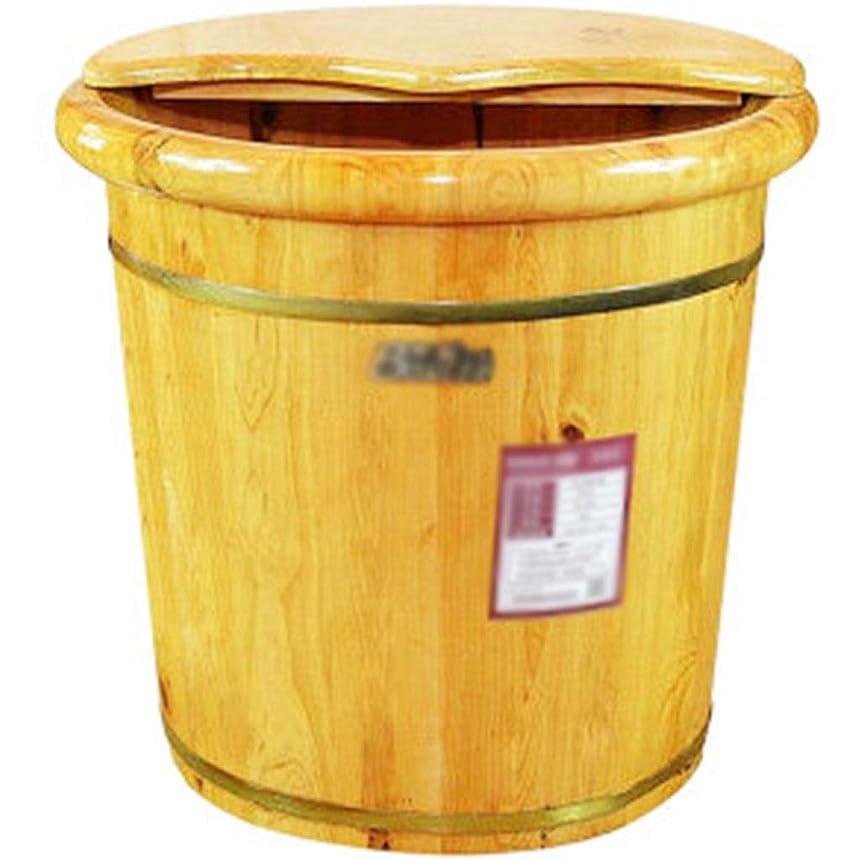 プレビスサイトトン女優足湯器 家庭用燻蒸フットバス、浸漬足盆地は、蓋の断熱材、フットバスバレルで、疲労を和らげます (Color : Brown, Size : 40cm)
