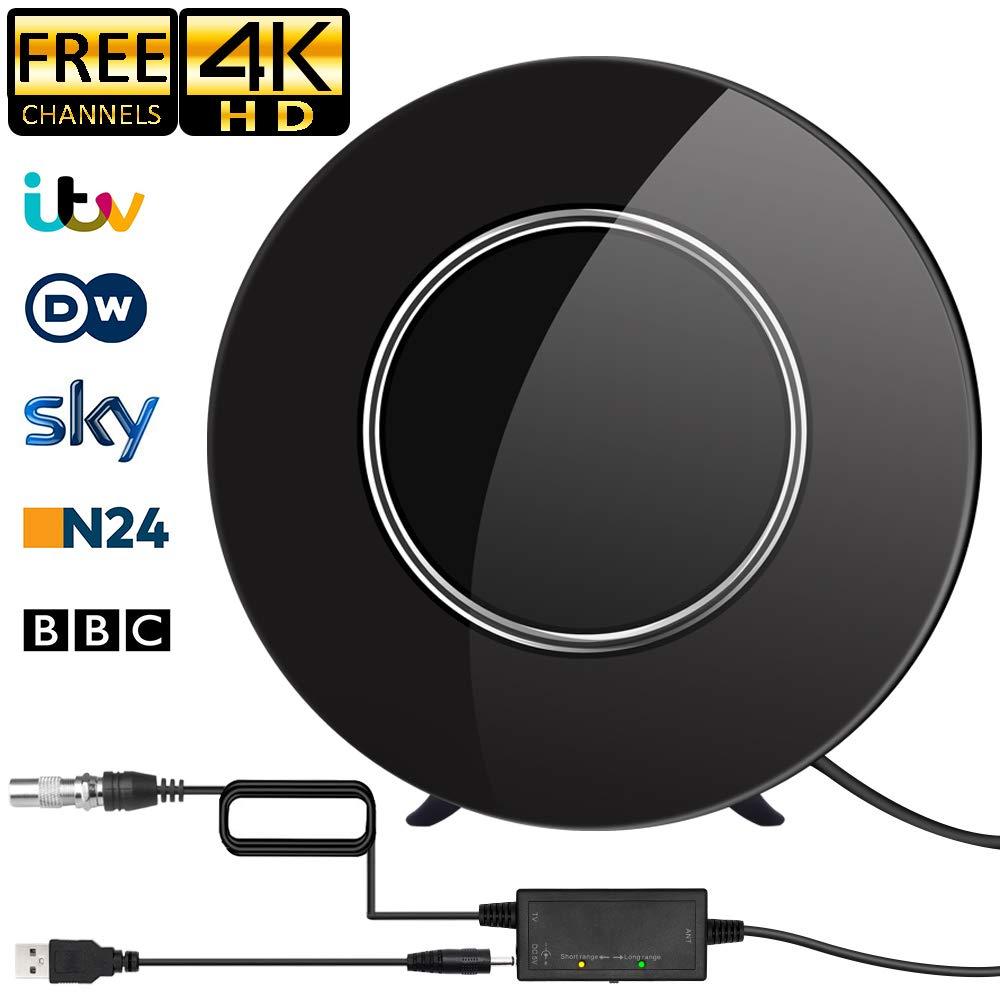 Antena de TV,Antena Redonda de TV,Digital para Interiores de Alcance de 200KM con Amplificador Inteligente de Señal, Adecuada para Canales de TV Gratis 1080P 4K, Amplificador con Cable Coaxial de 5M: Amazon.es: