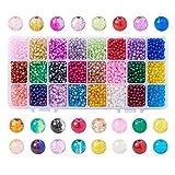 PandaHall 1440 Piezas de Cuentas de Cristal Crackle de 6 mm, Cuentas Multicolor, Redondas para Hacer Joyas DIY, Orificio:1,3~1,6 mm, Aproximadamente comparando 60 Piezas