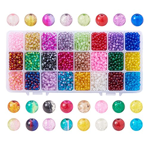 PH Pandahall 3600pcs 24 Color 4mm Crackle Lampwork Glass Beads Round Handcrafted Glass Loose Beads Assortment Lot for Jewelry Necklace, Bracelet, Earring Making