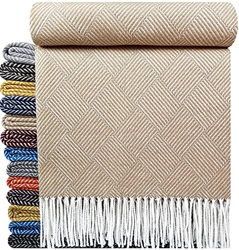Baumwolldecke sehr weiches Plaid Wohndecke Kuscheldecke in versch. Farben Baumwolle Marbella-P (Beige (P))