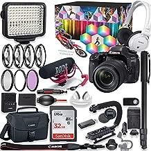 Canon EOS 80D DSLR Camera Premium Video Creator Kit w/ 18-135mm Lens Bundle + Sony Monitor Series Headphones + Video LED Light + 32gb Memory + Monopod + High End Accessory Bundle