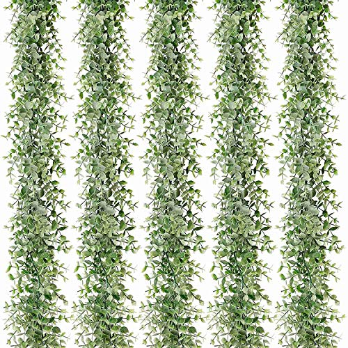 TOOGOO 5 Packs 30Ft Artificial Eucalyptus Garlands Fake Greenery Vines Faux Hanging Plants for Wedding Table Backdrop Arch