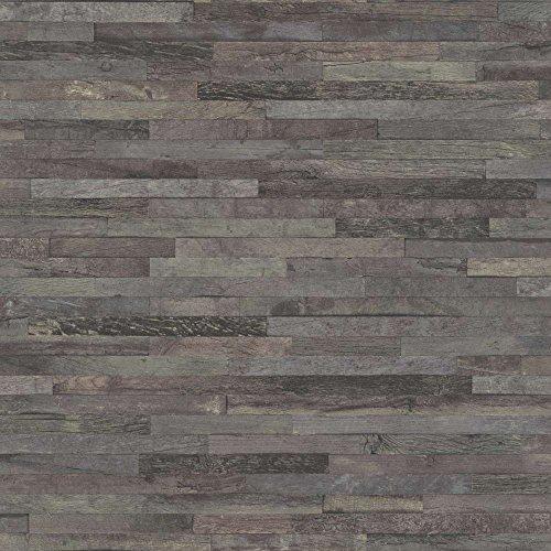 Rasch Tapeten 939828 Vliestapete in grauer Holz-Optik – 10,05m x 53cm (L x B) Vlies Tapete Rasch Kollektion Factory III, 10,05-0,53