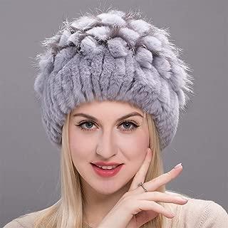 Guomao Ms. Winter Rabbit Fur Hat Wide Strip of Grass Fox Fur Ear Cap Fashion Flowers Header Cap (Color : Gray, Size : L)