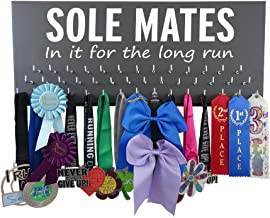 RunningontheWall Valentines Day Runners Medal Holder and Bib Hanger Valentines Gift for Running Lovers, Running Shoes Lover Sole Mates, in it for The Long Run Medal Rack Only Design