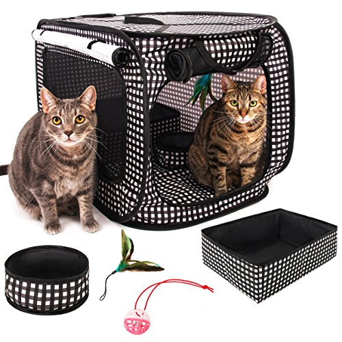 CHEERING PET, Stress Free Cat Condo Cage, Portable Cat Travel Cage, Collapsible Litter Box, Foldable Feeding Bowl,nFeather Teaser and Ball, Carrying Bag, Extra Large 32