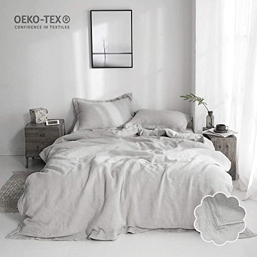 65680c1255 Simple&Opulence 100% Linen Duvet Cover Set 3 Piece White and Grey Solid  Wash (Queen