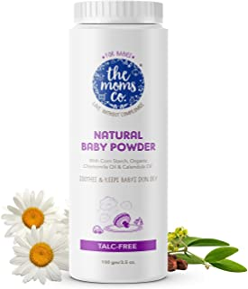 The Moms Co. Talc-Free Natural Baby Powder with Corn Starch | 100% Natural | Australia-Certified Toxin-Free | with Chamomi...
