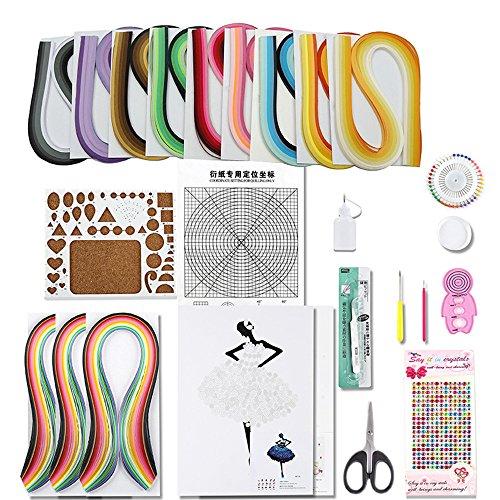 yurroad papel Quilling Kit con 12pcs herramientas y 1620tiras de papel para filigranas