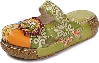 BININBOX Vrouwen Kleurrijke Lederen Slippers Backless Slip Ons Vintage Bloem Boho Platform Platte Sandalen Mule Klompen Sc...