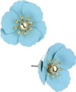 Women's Metal Matte Flower Petal Stud Pierced Earrings
