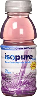 Isopure Plus 0 Carb - Zero Carb Protein Drink - Grape Frost, 6 Count