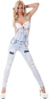 Women's Studded Ripped Dungaree Denim Overalls