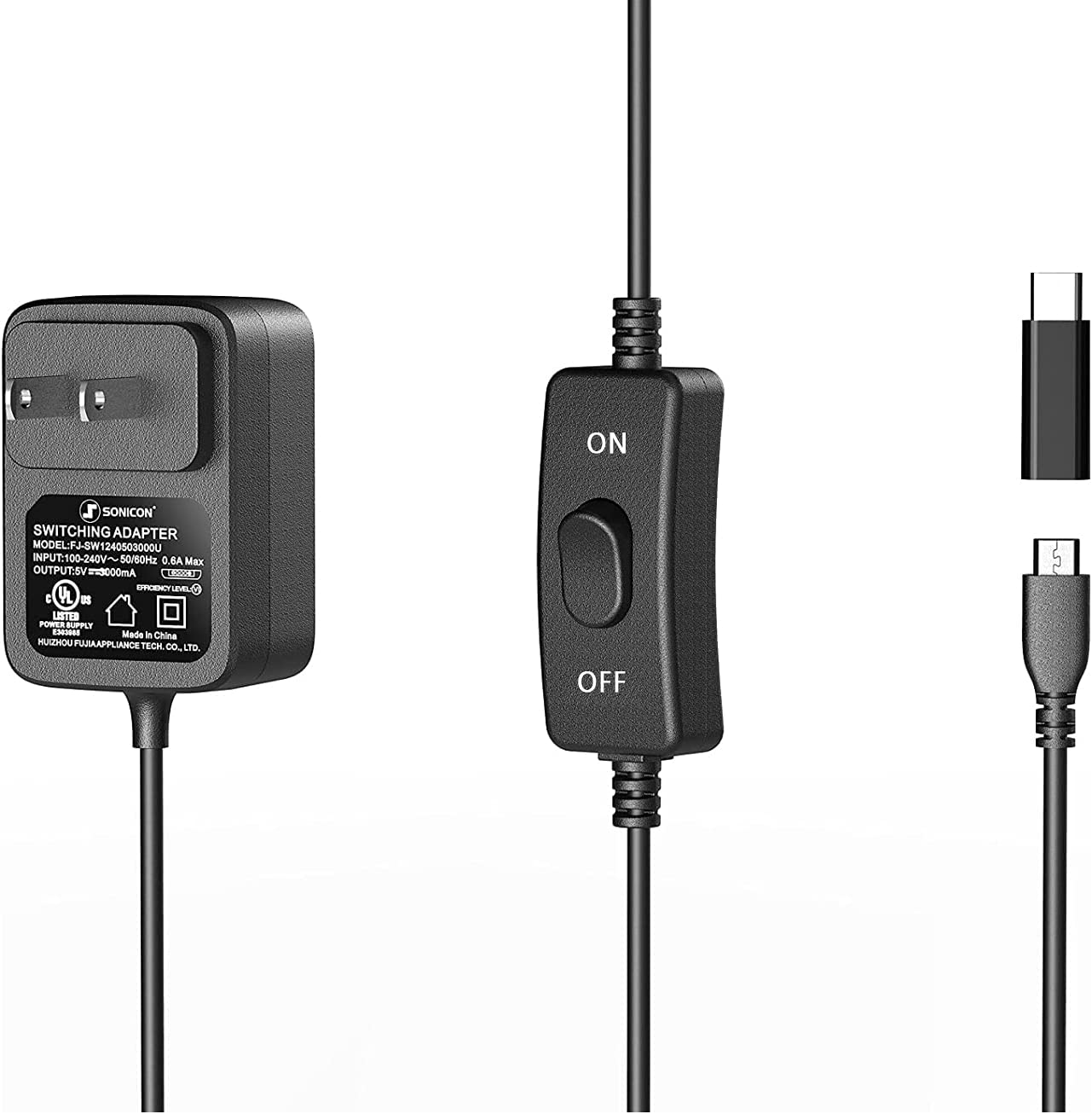 Sonicon Micro USB OFFicial shop Type-C Power price AC CordRas Supply Charger Adapter