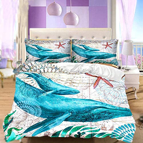 BH-JJSMGS 3D blue turtle bedding quilt marine animal turtle bedding sea turtle penguin dolphin tropical fish coral duvet cover, whale King220*240cm