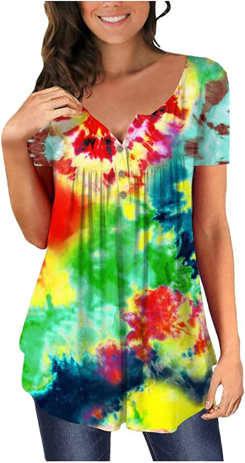 ManxiVoo Women's Casual Short Sleeve Tie-Dyed Print Button Down T Shirts Tops Flowy Tunic Blouse Shirt