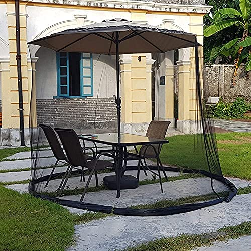 EliteMill Pantalla de mesa para paraguas, cubierta de red de patio al aire libre con cremallera y tubo de agua de TPU, cortina de malla ajustable para el hogar, balcón, cafetería, jardín