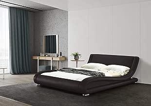 Greatime B1070 Eastern King Dark Brown Comtemparay Upholstered Bed