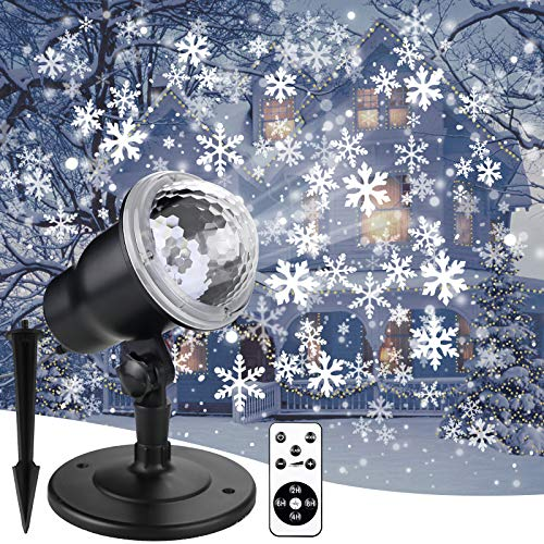 Christmas Snowflake Projector Lights Led Snowfall Show Outdoor Weatherproof Landscape Decorative Lighting for Xmas Holiday Party Wedding Garden Patio