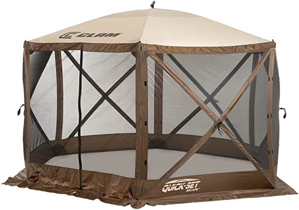 Quick Set 9879 Escape Shelter 140 X 140 Inch Portable Popup Gazebo Durable Tent Bug And Rain Protection Easy Setup 6 8 Person Brown Beige