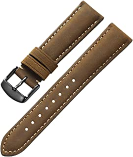 Genuine Calfskin Leather Watch Band 24mm 22mm 21mm 20mm 19mm 18mm Padded Strap Steel Spring Bar Buckle Super Soft for Men and Women (Three Color Choose)