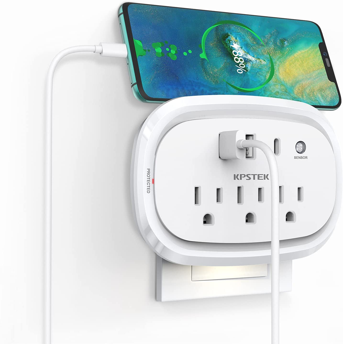 Outlet Extender, KPSTEK Multi Plug Outlet Splitter with USB C Ports and Night Light, USB Wall Charger for Home Office Accessories, Dorm Room Essentials