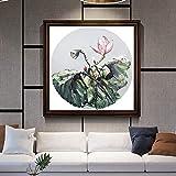 wZUN Textura Abstracta de la Pintura de Loto en la Pintura al óleo de la Planta del Arte de la Pared de la Lona para la decoración del hogar 60x60 Sin Marco