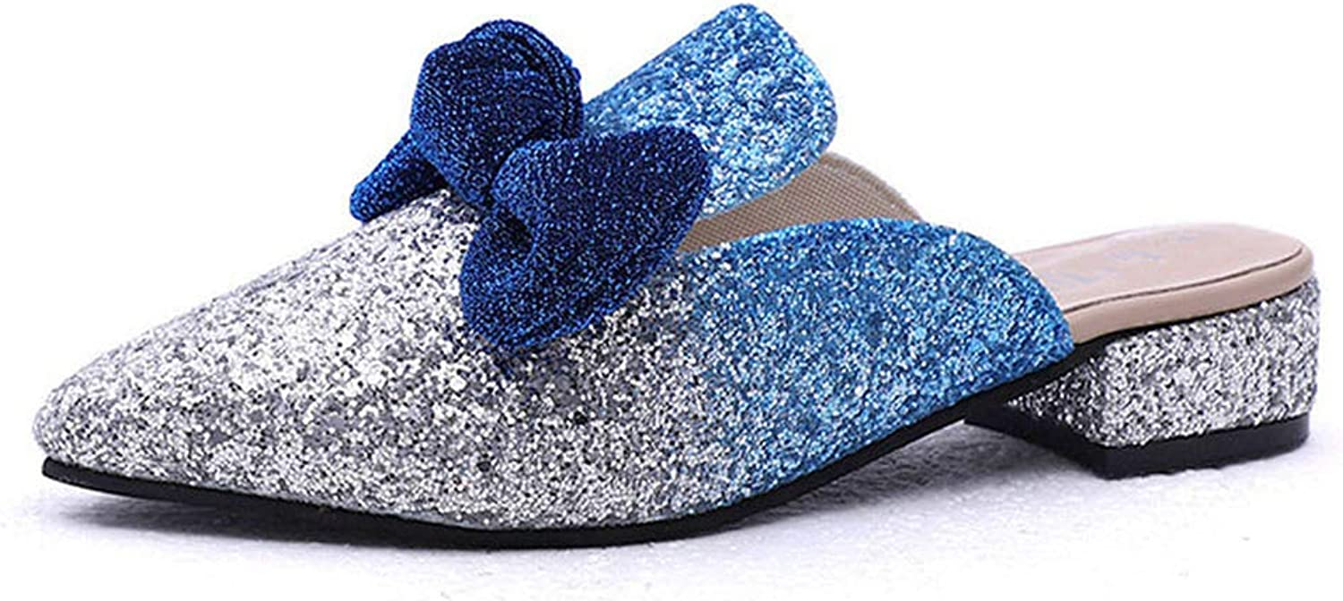 FAT BABY Half Slippers Female Summer New Korean Sequins Frosted Version Bowknot Sandals Fashionable Pretty Slides 098