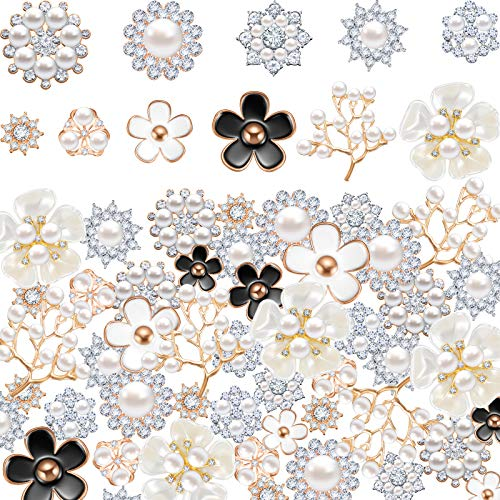 44 Pieces Pearl Rhinestone Buttons Christmas Snowflake Rhinestone Buttons Faux Pearl Embellishments Alloy Pearl Floral Brooch for Jewelry Making Wedding DIY Decor Clothes Bag Shoes Craft, 11 Styles