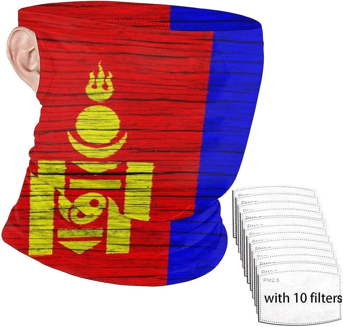 Mongolia Wooden Texture Mongolian Flag Face Nose And Mouth Pm2.5 Filter Dust Mask Scarf Bandana Reusable Balaclava