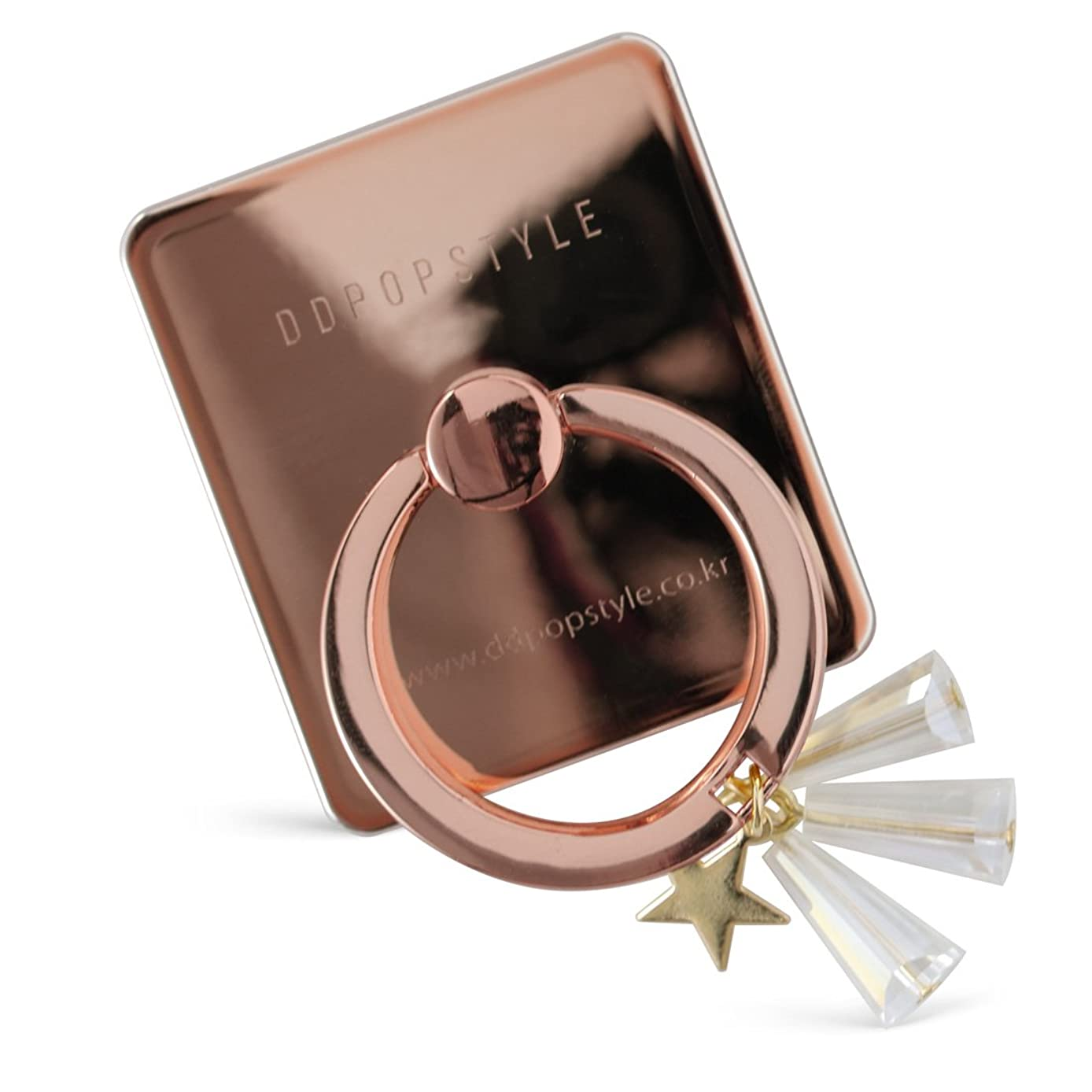DiDiRing Phone Ring Holder & Stand with Cute Charm Anti-Drop for Smartphones Tablets, Multi-Angle Stand 360 Rotation - Star Rose Gold