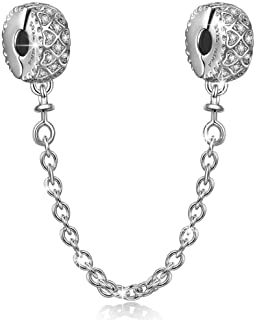 NinaQueen [Must Have] Authentic 925 Sterling Silver Clasp Safety Chain fit Charms Bracelets Clip Lock Stopper Charm Beads ...