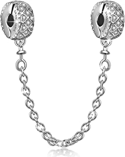 NINAQUEEN Christmas Jewelry Gifts Authentic 925 Sterling Silver Clasp Safety Chain fit Charms Bracelets Clip Lock Stopper Charm Beads Spacer for Bracelet