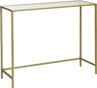 VASAGLE Table Console, Table d'entrée, Bout de canapé, Dessus de Table en Verre trempé, Cadre métallique, Robuste, Pieds r...
