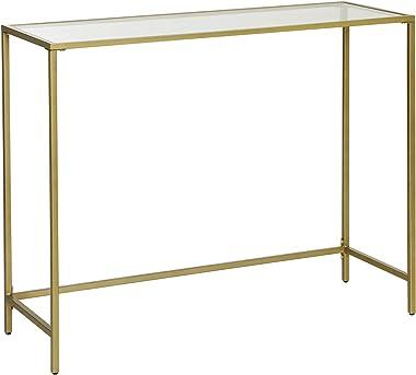VASAGLE Table Console, Table d'entrée, Bout de canapé, Dessus de Table en Verre trempé, Cadre métallique, Robuste, Pieds régl