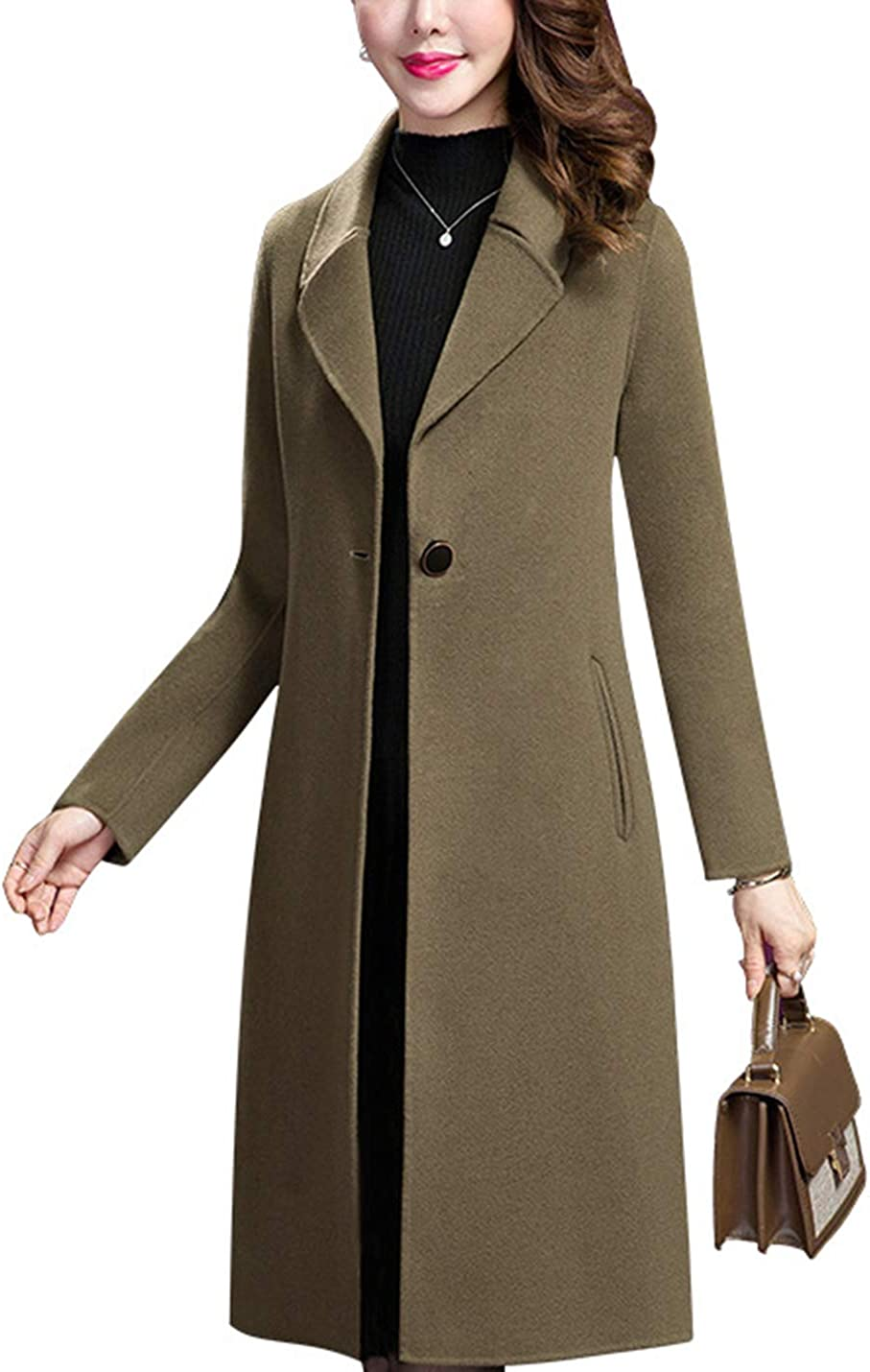 Uaneo Women's Mid Long Casual Slim Lapel Collar Single Breasted Woolen Pea Coats(Green-S)