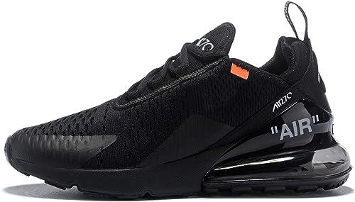 ETERNAL KNIGHT 270, Chaussures de FonctionneHommest à Coussin d'air pour Hommes (43 EU, Noir Blanc Orange (32))