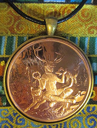 Celtic Lore: Cernunnos the Lord of the Wild Things – 24+ Inch Leather Necklace, Copper Coin