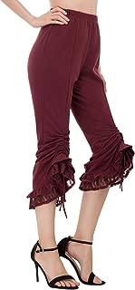 Women's Steampunk Victorian Pirate Capri Pants Flare Cropped Pants