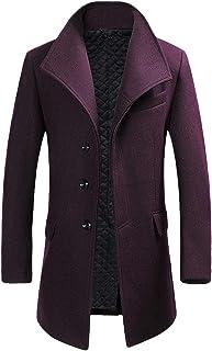 Heren winterjas Slim Fit gewatteerde wol trenchjassen lange dikke elegante jas overjas