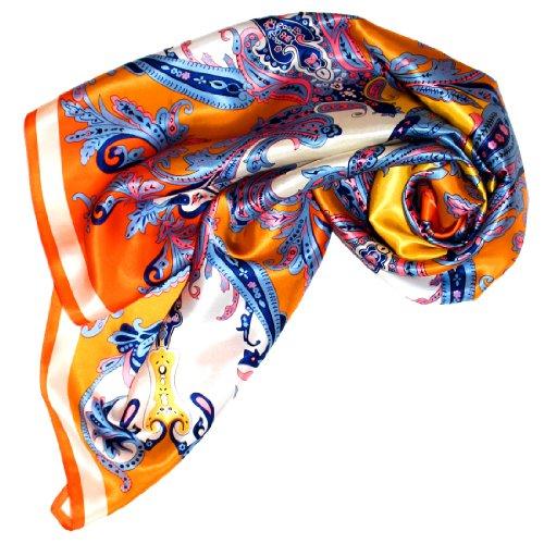 Lorenzo Cana Luxus Damen Seidentuch aufwändig bedruckt Tuch 100% Seide 90 cm x 90 cm harmonische Farben Damentuch Schaltuch 89023