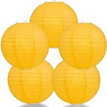 Quasimoon PaperLanternStore.com (5-Pack) 12 Inch Yellow Round Paper Lantern, Even Ribbing, Hanging Decoration