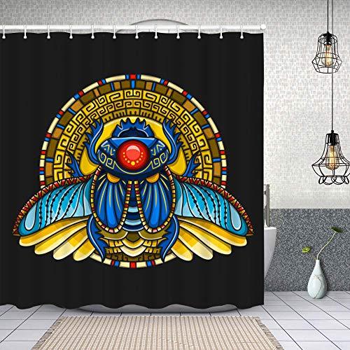 pop-belief Waterproof Shower Bath Curtains Egyptian Scarab Symbol of Pharaoh Gods ra Sun Mythology t Shirt Design Tattoos of Cloth Fabric Bathroom Decor with Hooks