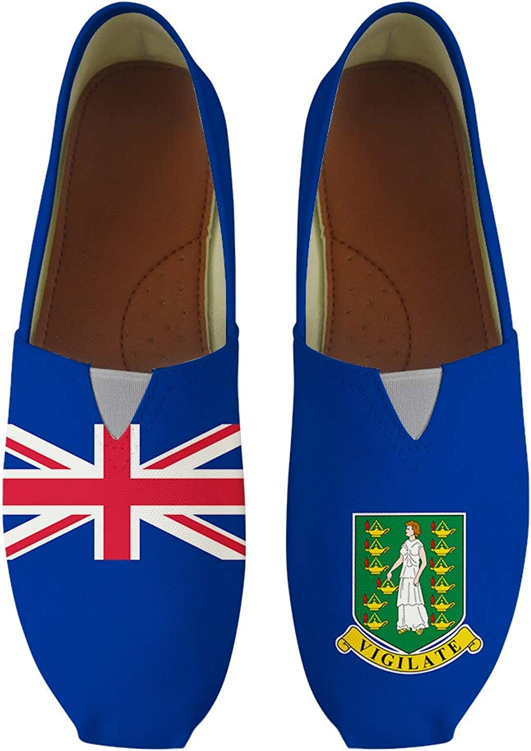 Owaheson Classic Canvas Slip-On Lightweight Driving shoes Soft Penny Loafers Men Women The British Virgin Islands Flag