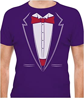 Tstars - Printed Suit & Tie Tuxedo - Red Bow Tie Bachelor Party T-Shirt