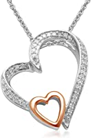 "Jewelili 10kt Rose Gold and Sterling Silver Heart Pendant Natural White Diamond Necklace, 1/10cttw, 18"" Rolo Chain"